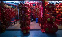 A shop selling Chinese lanterns in the Yiwu market.